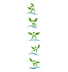 eco plants people graphi set of design vector image vector image
