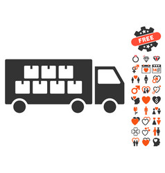 goods transportation truck icon with love bonus vector image