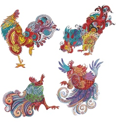 set roosters with flowery patterns vector image