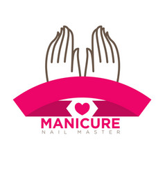 manicure logo template with two female hands on vector image