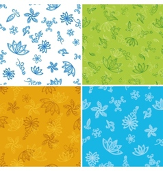 Set abstract seamless floral backgrounds vector image vector image