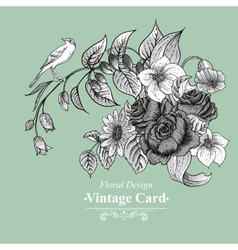Vintage floral card with roses and wild flowers vector image vector image