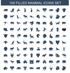 100 mammal icons vector