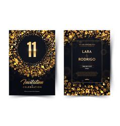 11th years birthday black paper luxury vector