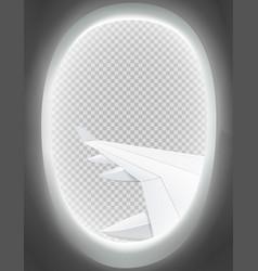 Air travel window view mockup vector