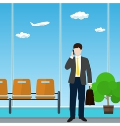 Airport Waiting Room with Businessman vector