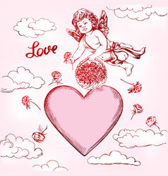 Angel or cupid little bafly and gives flowers vector
