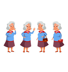 Asian old woman poses set elderly people vector