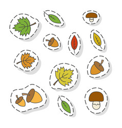 autumn forest elements flat stickers set vector image