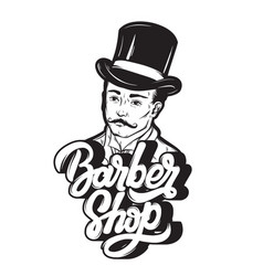 barber shop handwritten lettering with hand drawn vector image