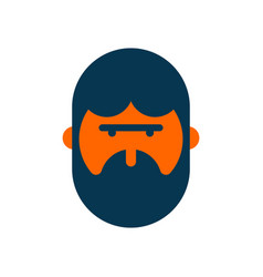 bearded man sign icon hipster portrait symbol vector image