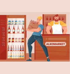 Beer market flat vector