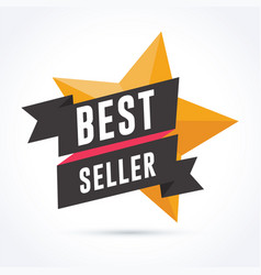 best seller banner with ribbon and star vector image