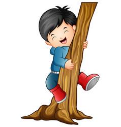 boy climbing the tree vector image
