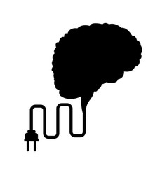 brain mind idea creativity with cable plug vector image