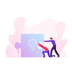 business people pushing together huge puzzle piece vector image