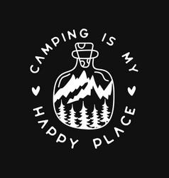 Camping silhouette line art logo design vintage vector
