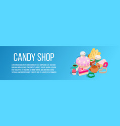 Candy shop concept banner isometric style vector