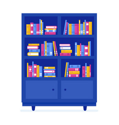 cartoon color library wooden bookcase with books vector image