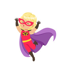 Comic brave girl kid in superhero red costume with vector