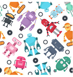 Cute robots futuristic kids seamless vector