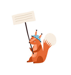 cute squirrel in funny hat holding empty banner vector image
