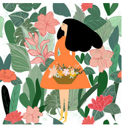 Cute woman in greenery leave seamless pattern vector