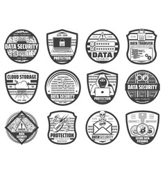 data security hacker attack web protection icons vector image