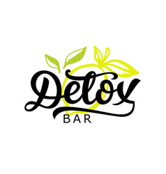 detox bar logo badge calligraphy logotype vector image