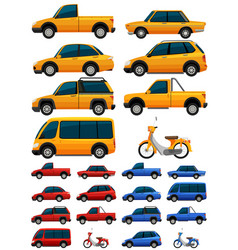 different types of transportations in three colors vector image