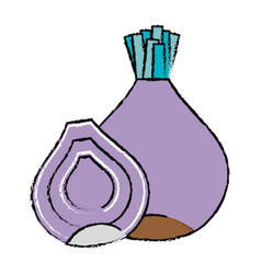Doodle organic onion nutrition vegetable taste vector