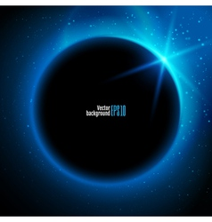 eclipse planet in space in blue rays light vector image