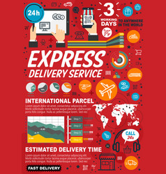 express delivery service infographic statistics vector image