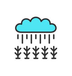 field under rain flat color line icon vector image