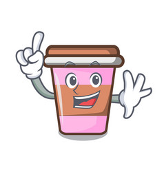 finger coffee cup mascot cartoon vector image