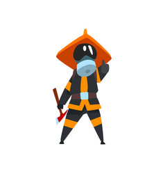 firefighter in a protective mask with axe fireman vector image