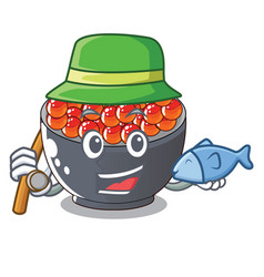 Fishing salmon roe character ready to eat vector
