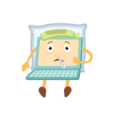 flat funny laptop sick character vector image