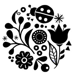 floral folk art design in black and white vector image