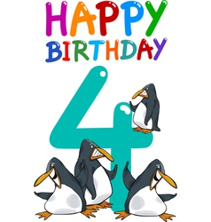 fourth birthday anniversary card vector image