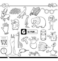 g is for educational task coloring book vector image