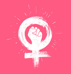 girl power grunge icon female fight sign vector image