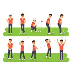 Golf players sport athletes in actions vector