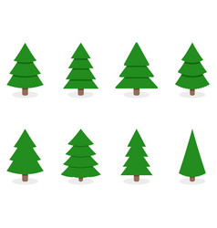 green xmas tree set isolated on white vector image