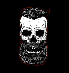 hand drawn bearded skull isolated on black design vector image