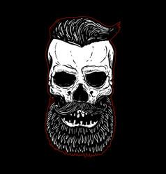Hand drawn bearded skull isolated on black design vector