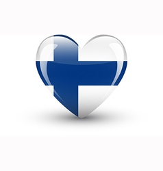 Heart-shaped icon with national flag of Finland vector image