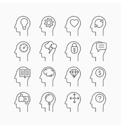 Human mind icons thin line style flat design vector