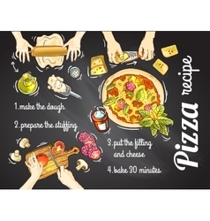 Italian pizza recipe vector image