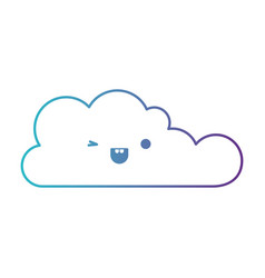 Kawaii cloud icon flat in degraded blue to purple vector